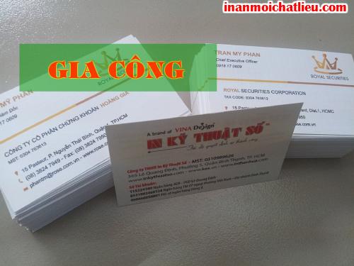 Phủ UV cho name card cao cấp tại Công ty TNHH In Kỹ Thuật Số - Digital Printing