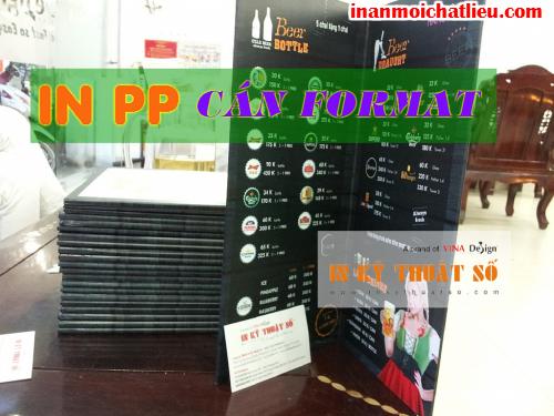 In PP cán format làm menu kiểu mới tại Công ty TNHH In Kỹ Thuật Số - Digital Printing